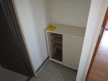 玄関には靴箱あります。これがあるとないとでは収納力が違いますね。