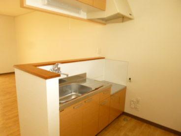 吊戸棚もあるキッチン。収納がしやすいと自炊もはかどりますね!