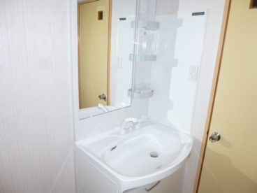 頭も洗えるくらいの大きな洗面台があります。出かける前の支度が楽です!