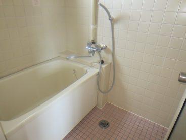 浴室はレトロなタイル調