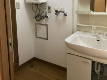 洗濯機置き場もあります。洗面脱衣場にあるのがポイントですね