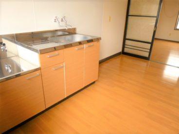 ちょっと広めのキッチン。冷蔵庫も無理なく置けますね!