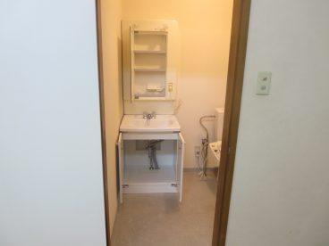 洗面もあります。トイレから出たあとの手洗い場にいいですね