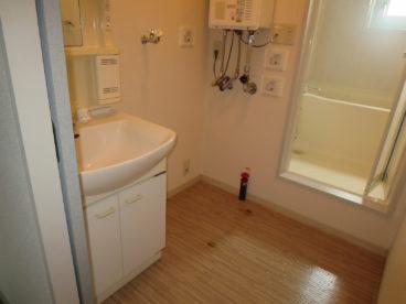 洗面と洗濯機置き場とお風呂がいっしょに。便利ですね!